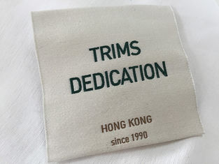 Trung Quốc Cotton Thread Brocade Woven Clothing Labels Beige Background High Density nhà cung cấp